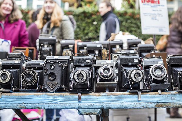 Vintage cameras for sale at Portobello Road Market
