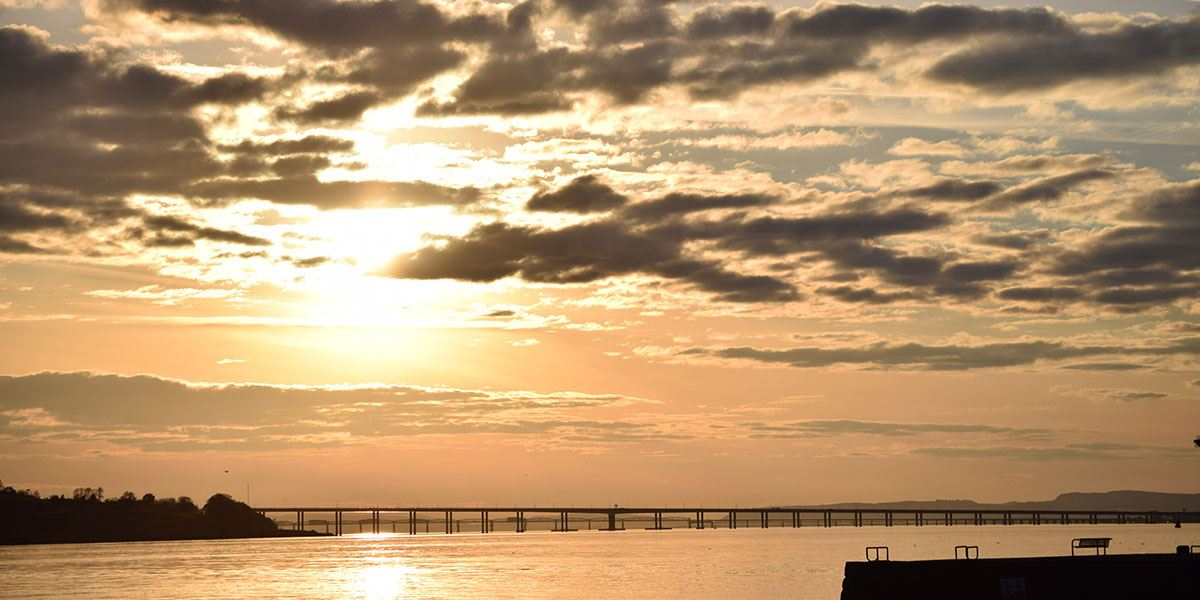 Ged's favourite view is the sunset over the Tay Road Bridge