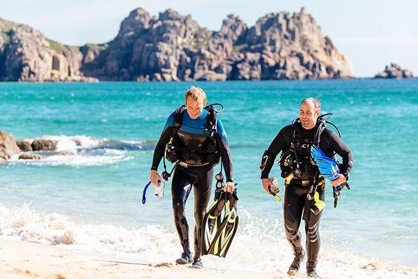Scuba diving off the coast at Kynance Cove Beach