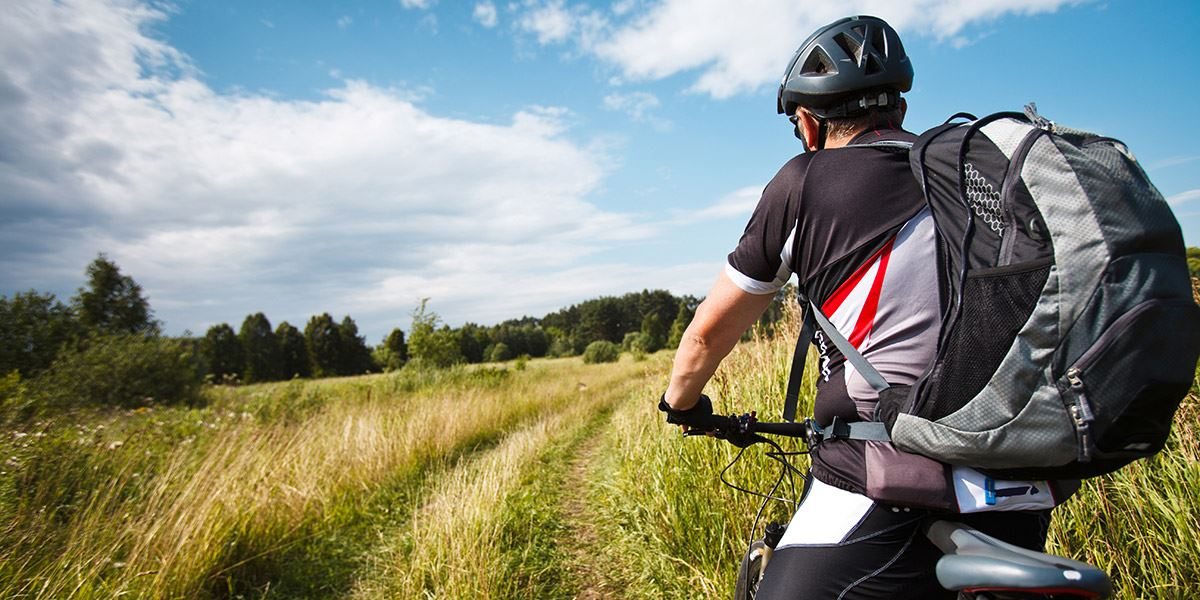 Cyclist in countryside