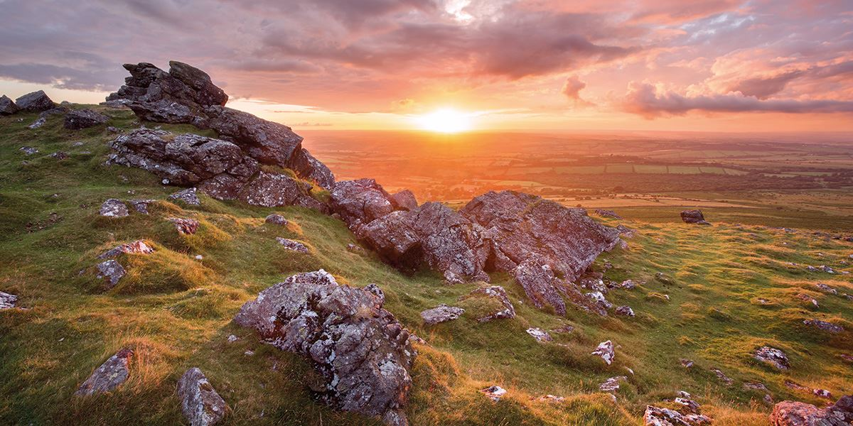 The picturesque Dartmoor at sunset
