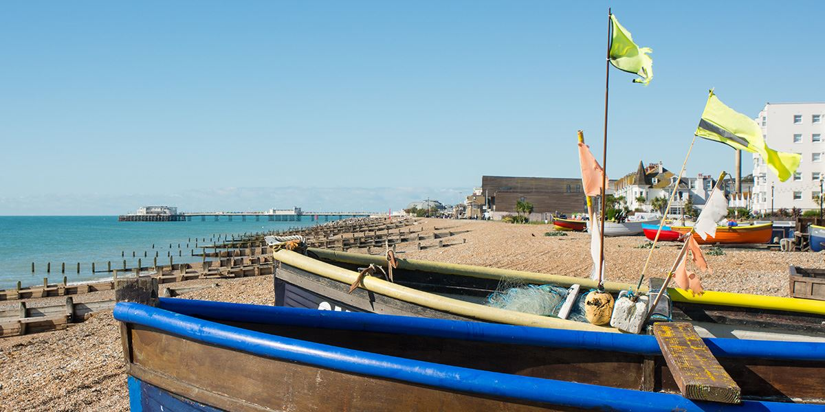 Boats on Worthing seafront