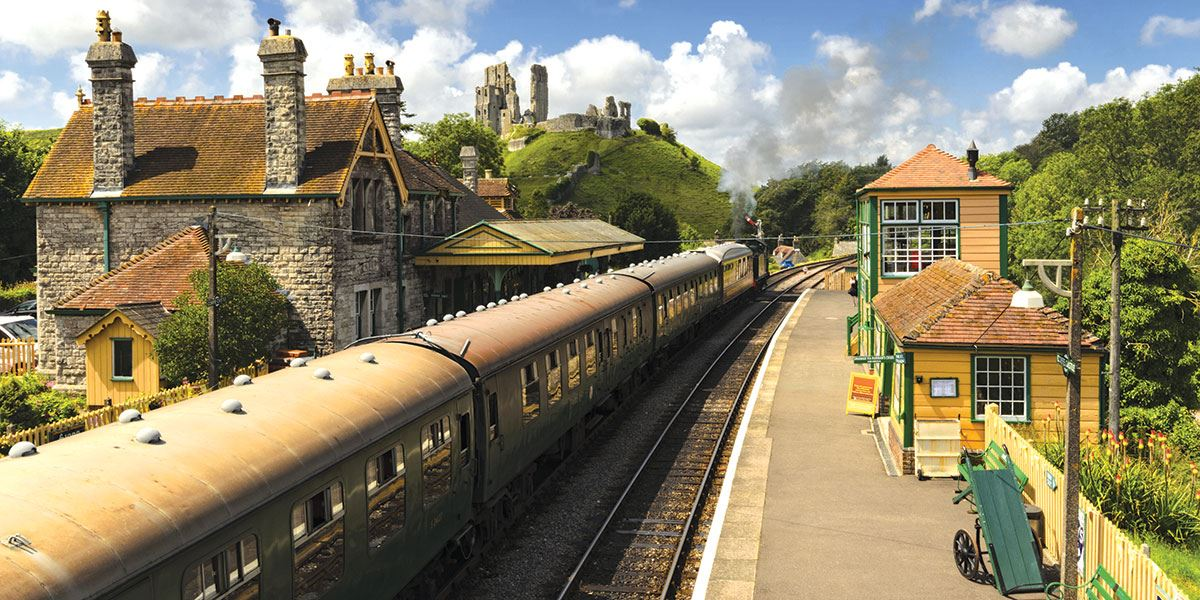 Step back in time and take a trip on the steam train to Corfe Castle