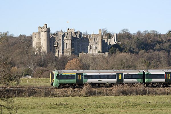 Train running by Arundel Castle