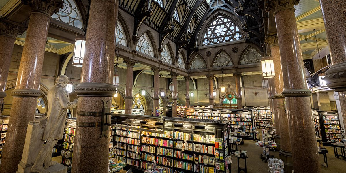 Now a book shop, Bradford's Wool Exchange was a wool-trading centre in the 19th century