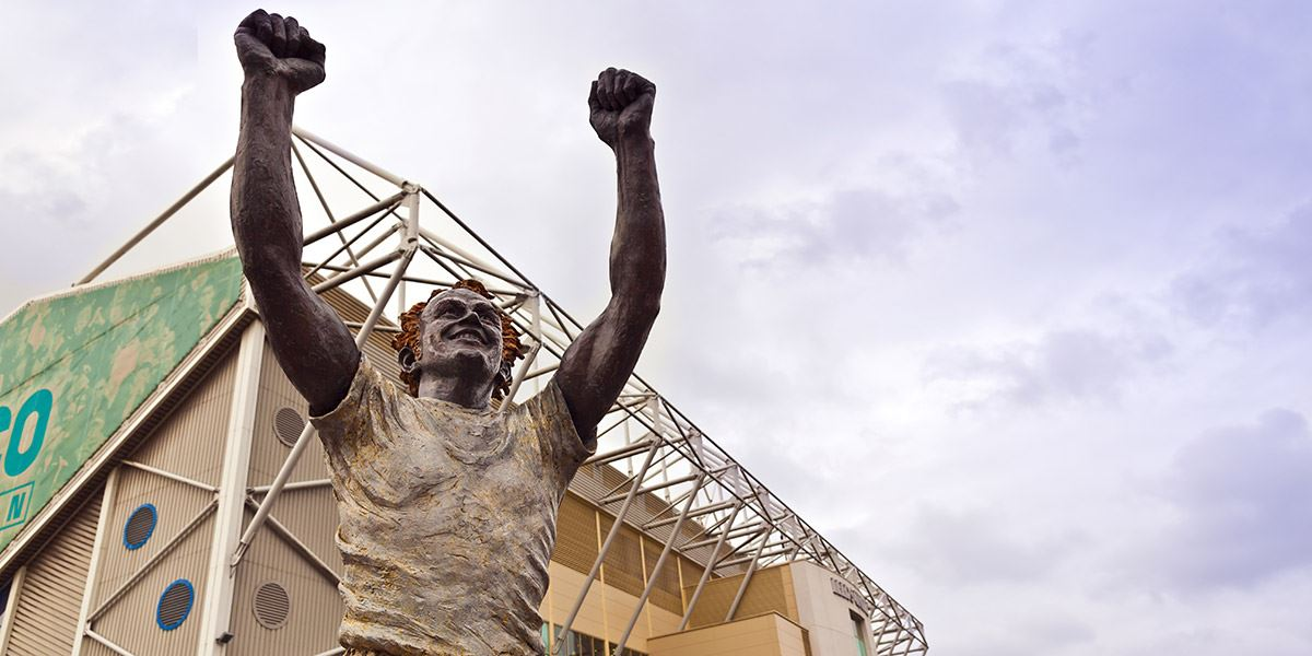 A statue for legendary Captain Billy Bremner outside Elland Road football stadium