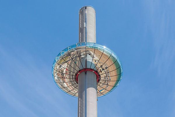 Take a trip up the British Airways i360, the world's first vertical cable car