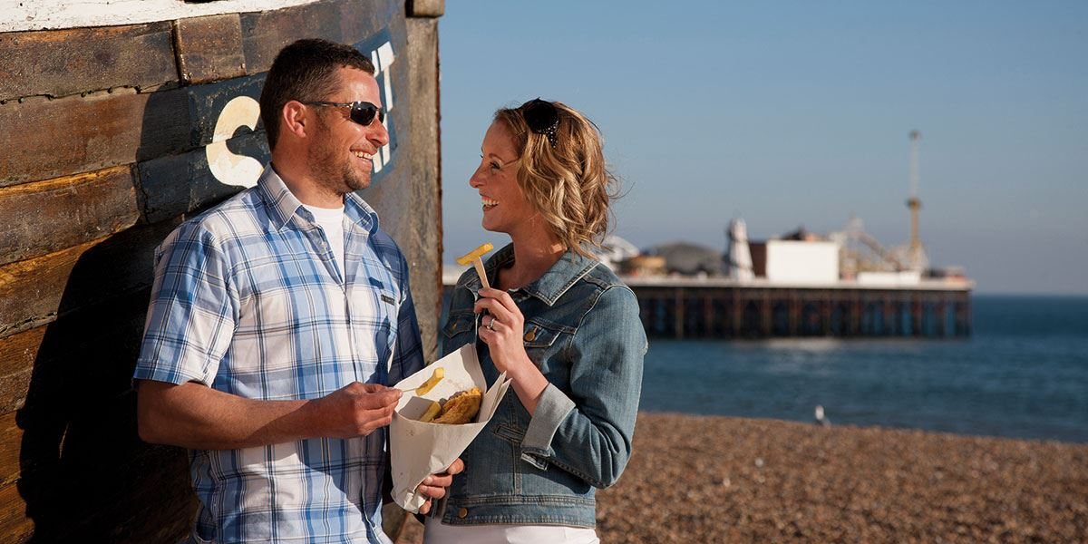 Watch the sun go down on the beach with a fish and chip tea