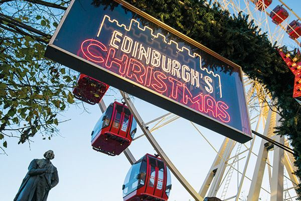 Entrance to the Edinburgh Christmas Market in Princes Street Gardens