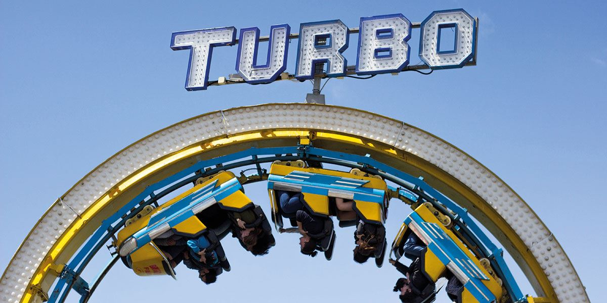 Thrill-seekers should head for the Turbo Coaster at Brighton Palace Pier