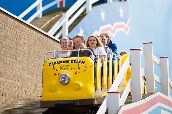 Rollercoaster ride at Great Yarmouth's Pleasure Beach