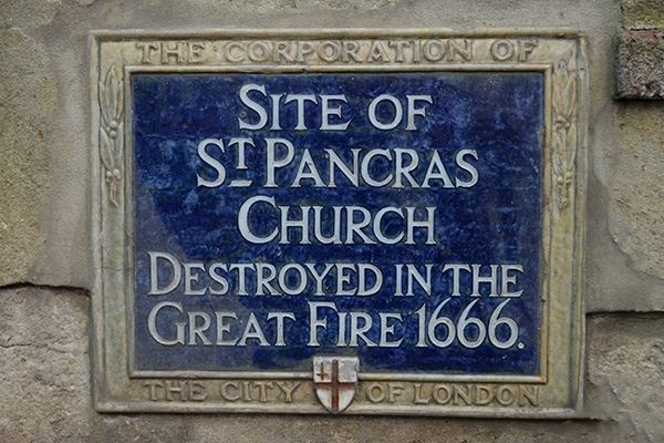 St Pancras Church was destroyed in the Great Fire of London