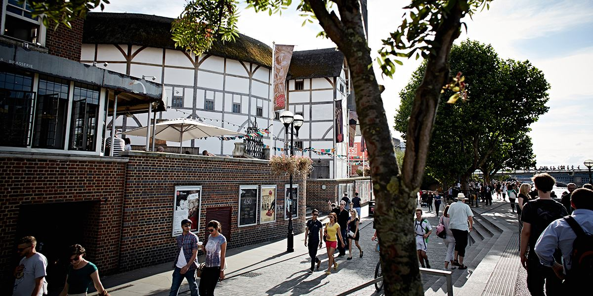 Shakespeare's Globe Theatre sits right on the banks of the Thames