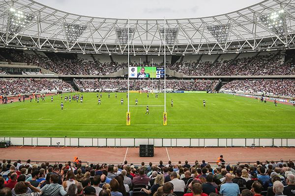 Rugby match at Queen Elizabeth Olympic Park