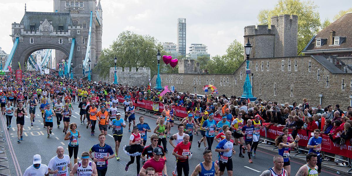 London Marathon participants crossing Tower Bridge
