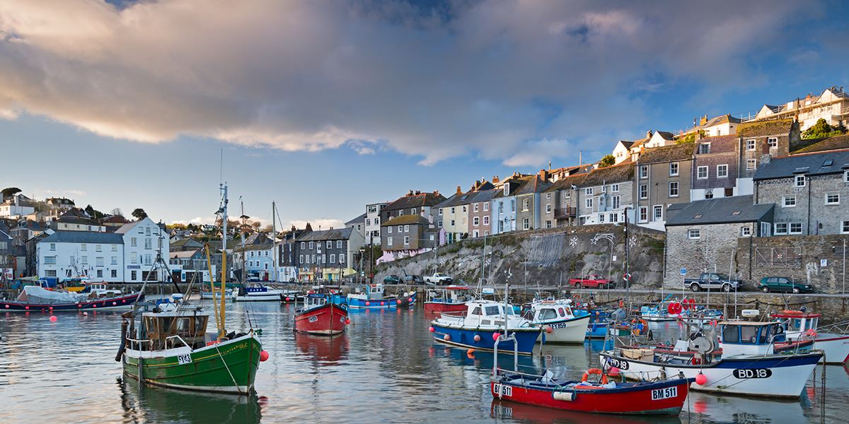 Boats in the harbour at Mevagissey Village