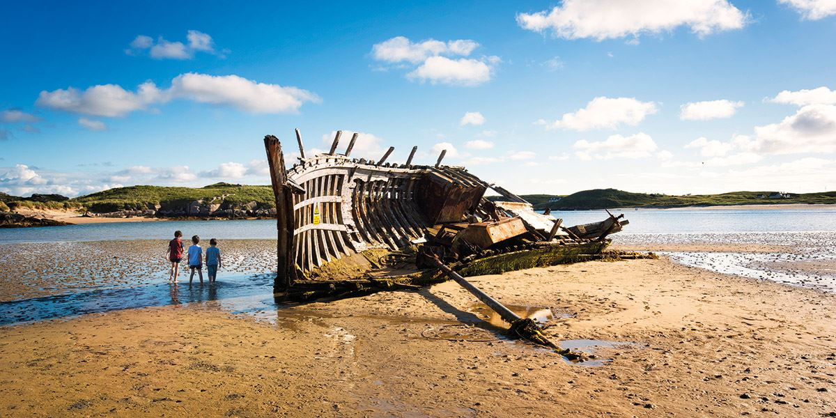 Shipwreck on beach in County Donegal