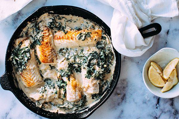 Salmon dish in pan