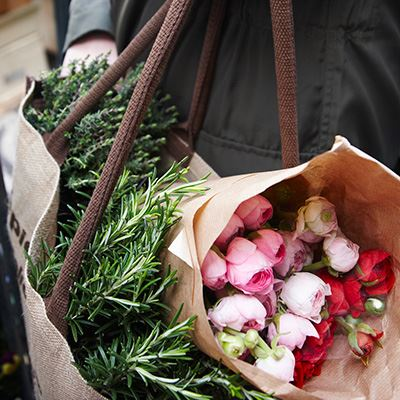 Buy fresh cut flowers and herbs every Sunday