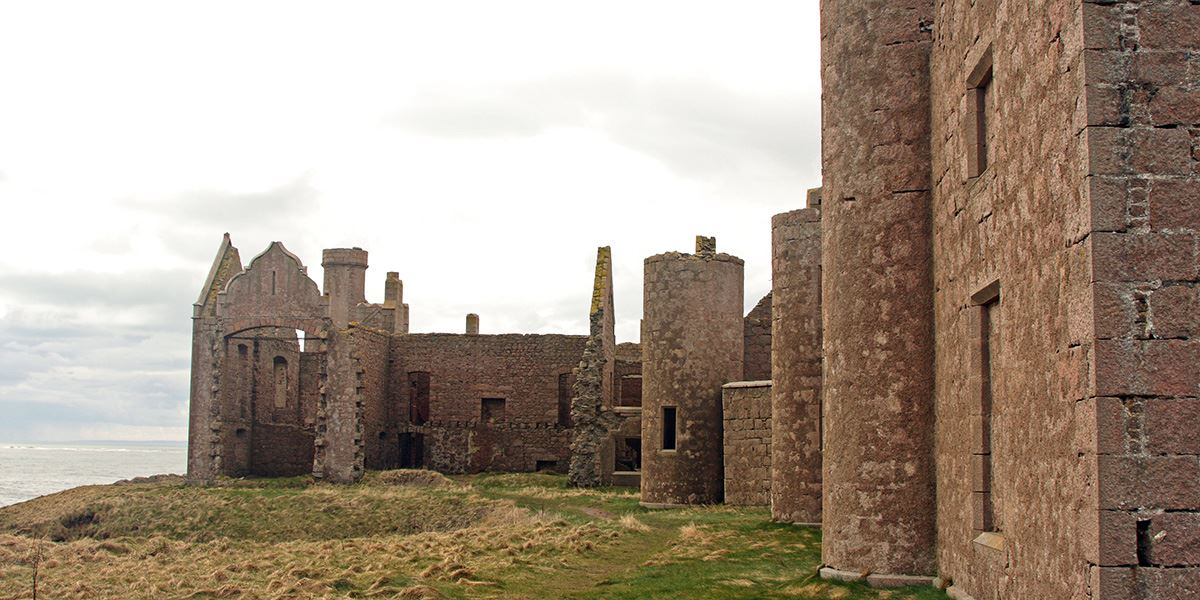 Slains Castle lies on coast at Cruden Bay