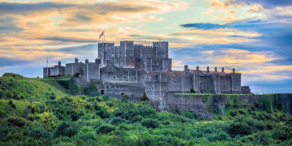 Dover Castle offers views across the English Channel