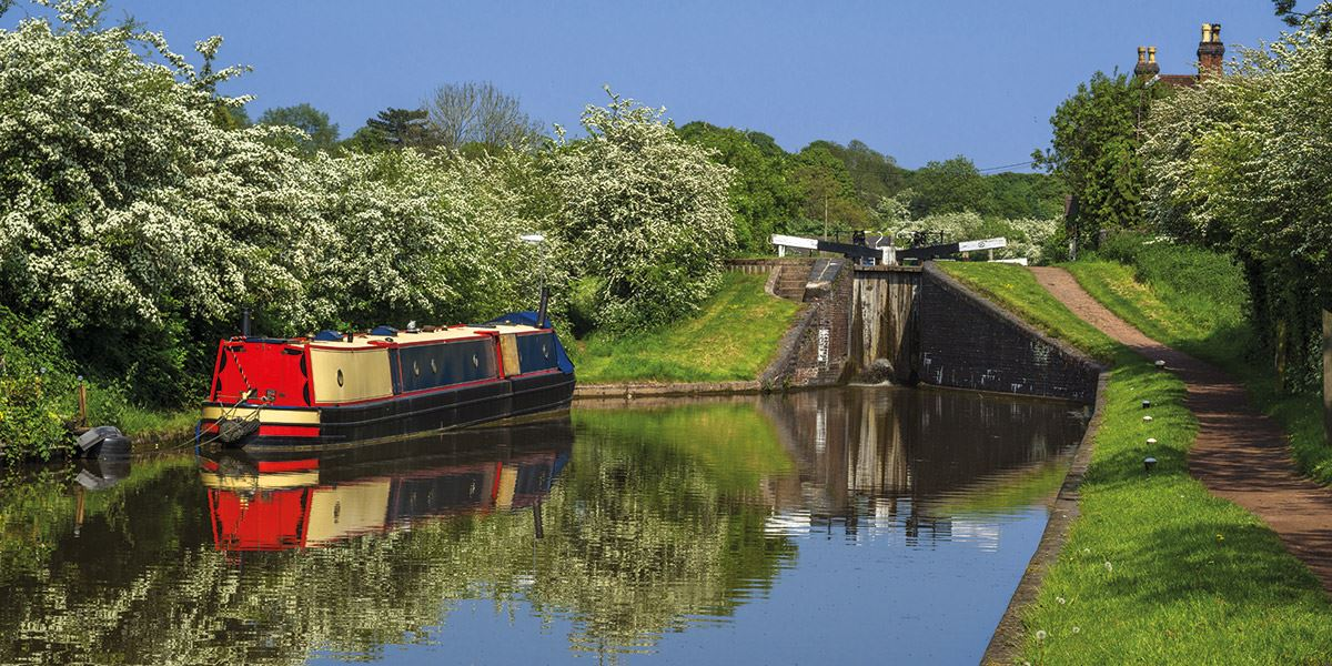 Canal boat on river Worcestershire travel