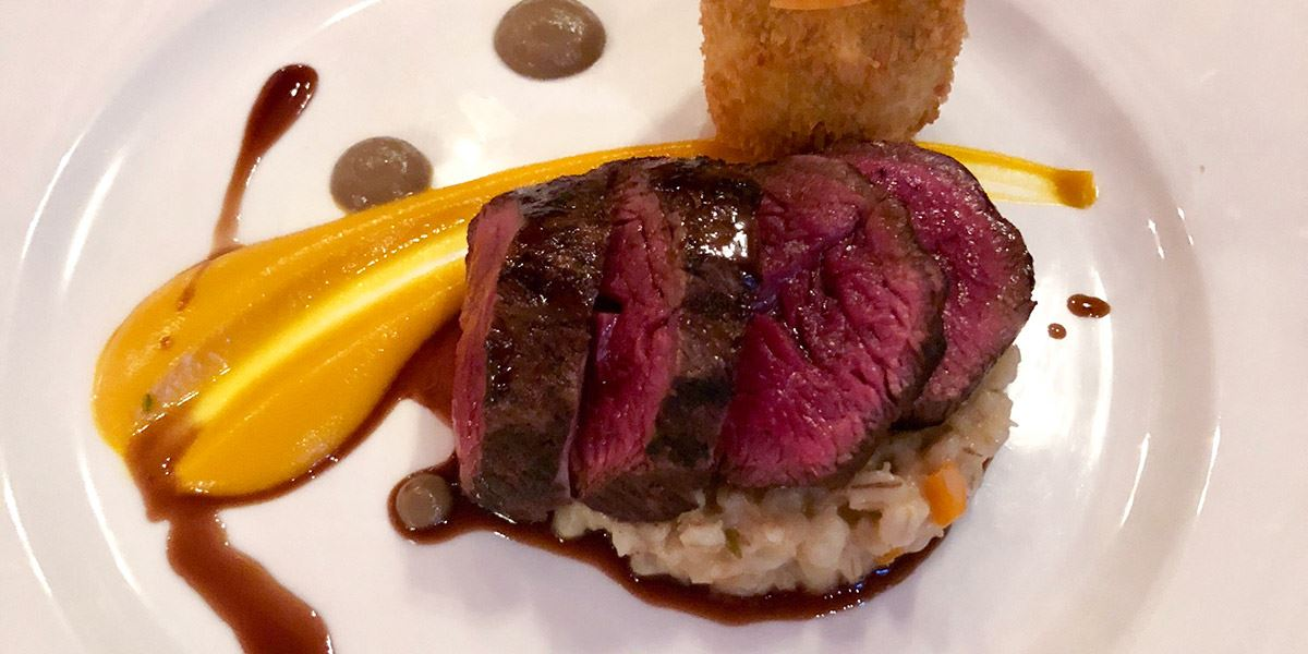 Fillet-of-Hereford-beef-with-ox-cheek-croquette,-risotto-of-pearl-barley-and-horseradhish-and-cepes-puree