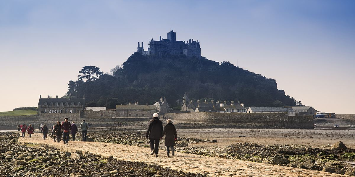 Once the tide is out, you're able to walk to St Michael's Mount