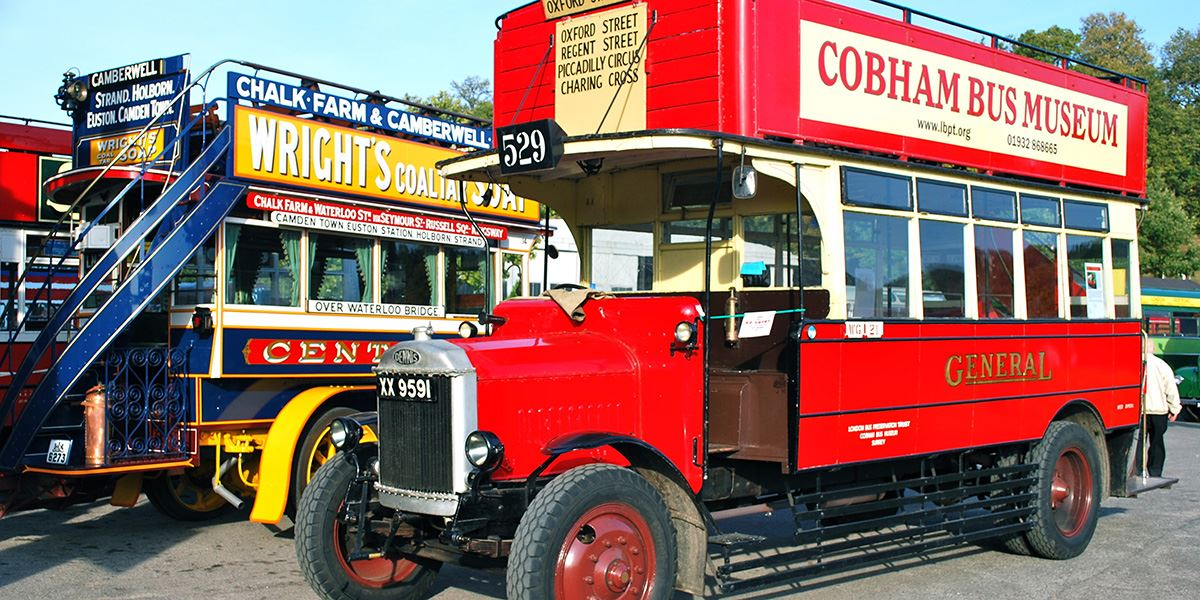 Vintage buses at the London Bus Museum in Brooklands Museum