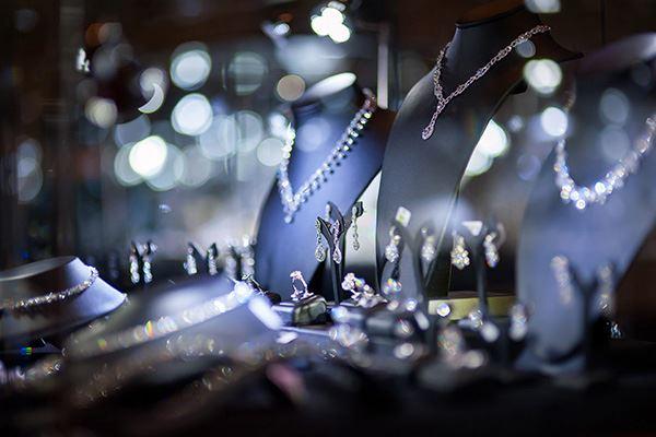 Jewellery display in window