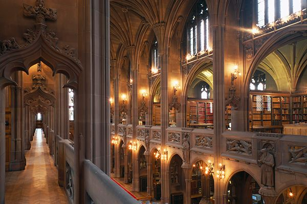 Neo-Gothic architecture at John Rylands Library in Manchester