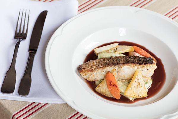 Fish dish at L'Escargot Bleu French restaurant in Edinburgh