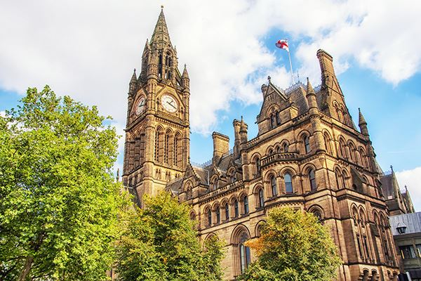 Neo-Gothic Manchester Town Hall stands proudly in the city centre