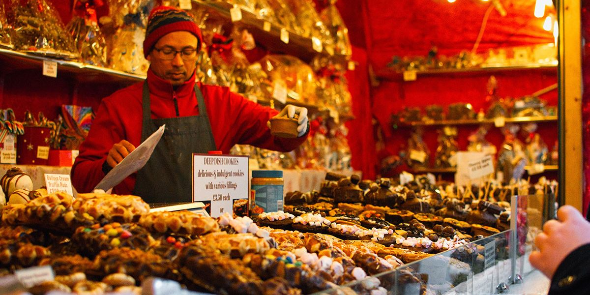 Sweet treats on sale at a European market in Manchester
