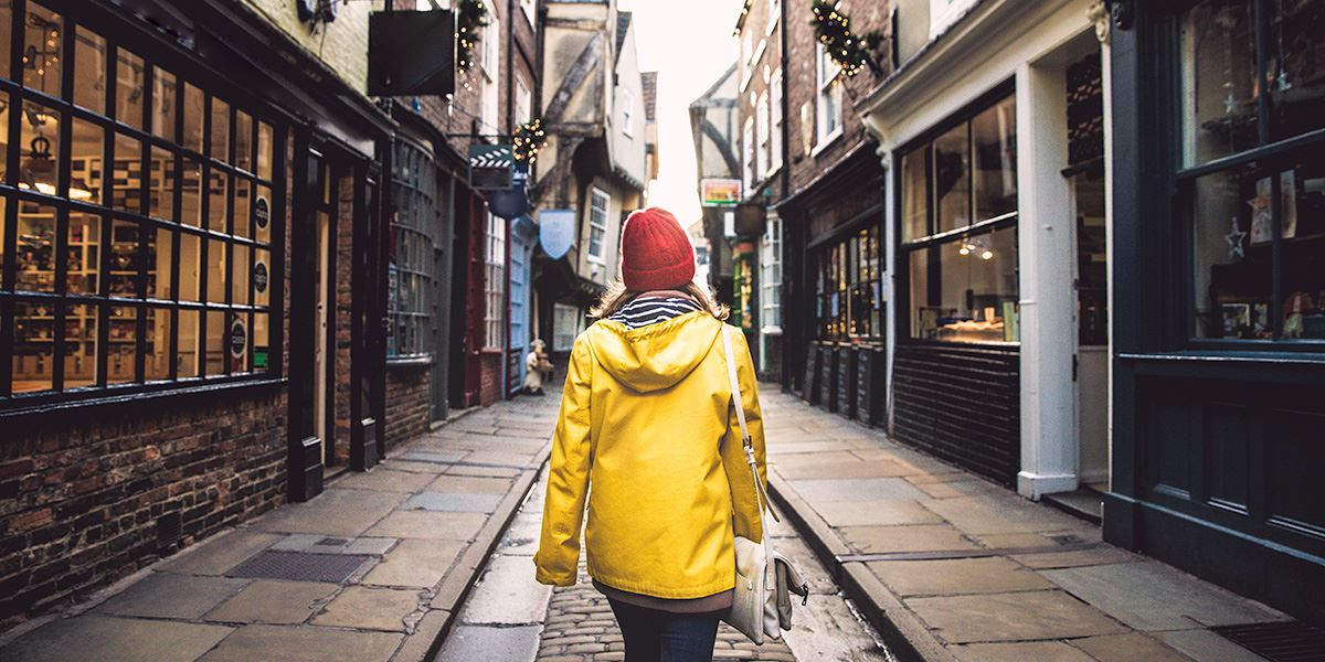 Walking down the Shmables shopping street in York