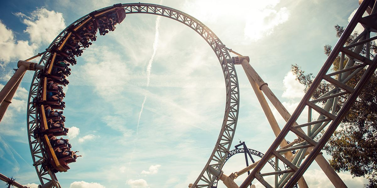 Colossus rollercoaster at Thorpe Park theme park in Surrey