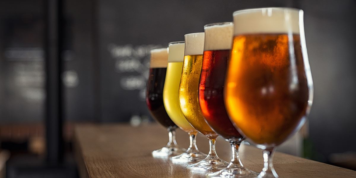 Craft beers in a pub