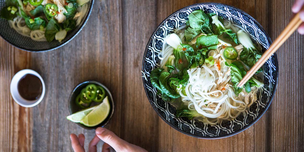 Thai food noodle dish at restaurant