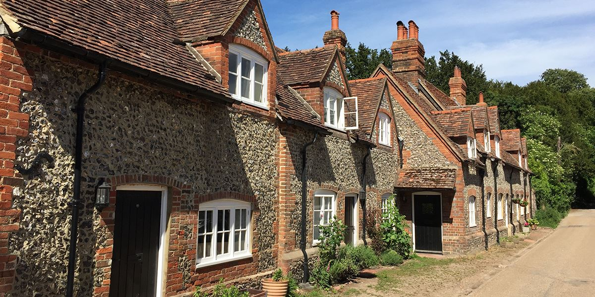 Pretty houses in Hambleden, Buckinghamshire