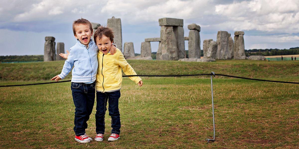 Kids at Stonehenge in Wiltshire