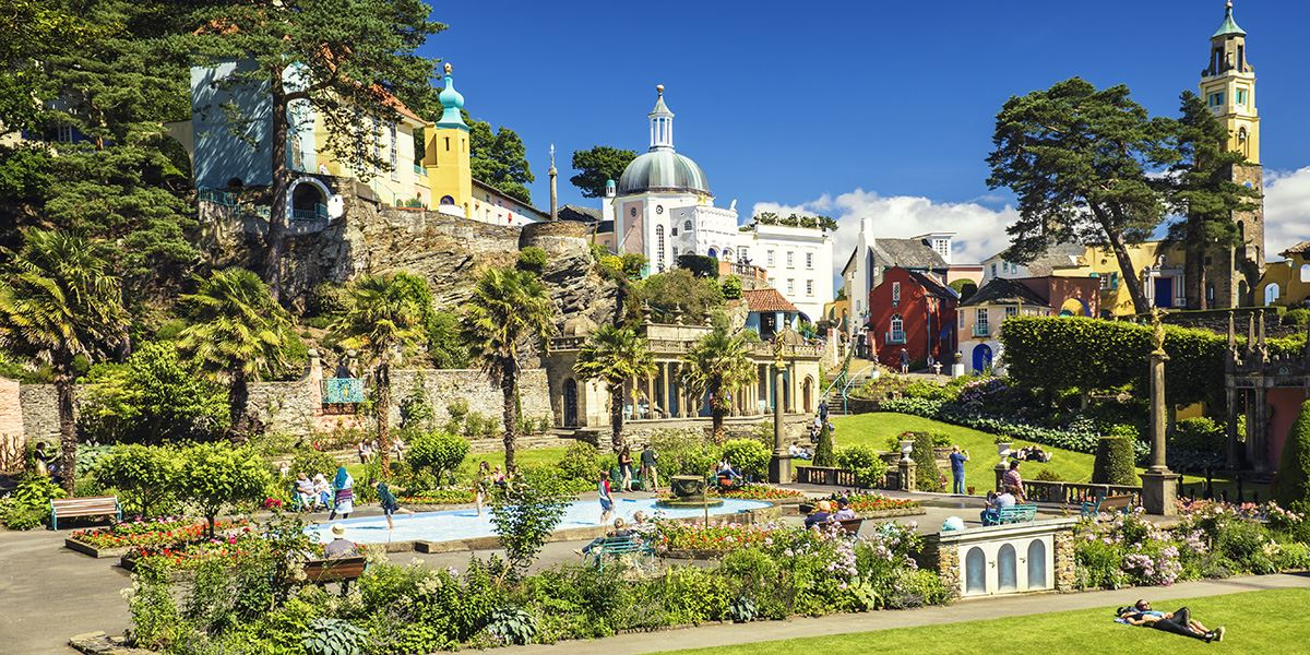 Portmeirion, a tourist village in North Wales, was inspired by the multi-coloured, impressive façades of Portofino in Italy