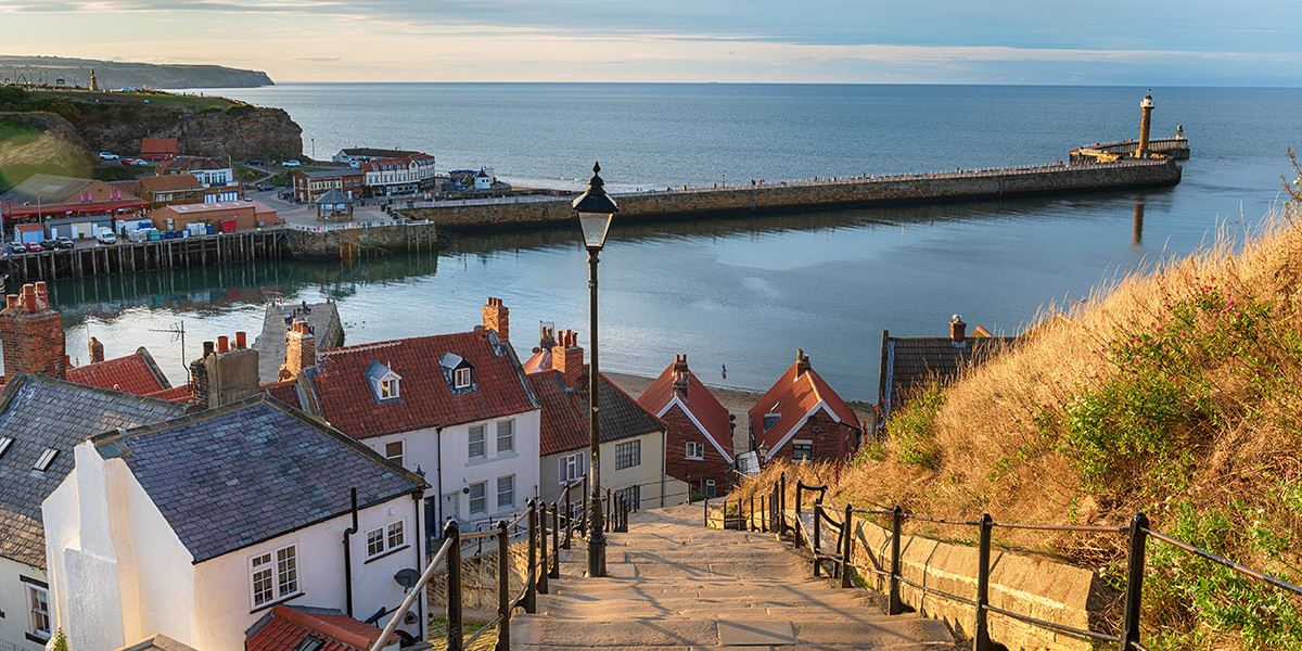 Looking down at the fishing village of Whitby in North Yorkshire