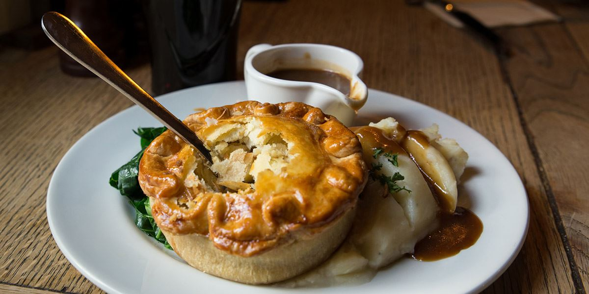 Pie and mash in a pub