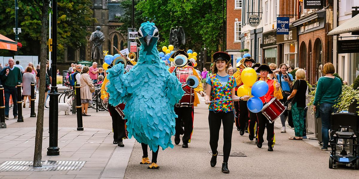 Percy the Peacock is Worcester Festival's mascot