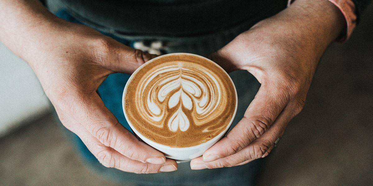 Latte in a mug with foam art