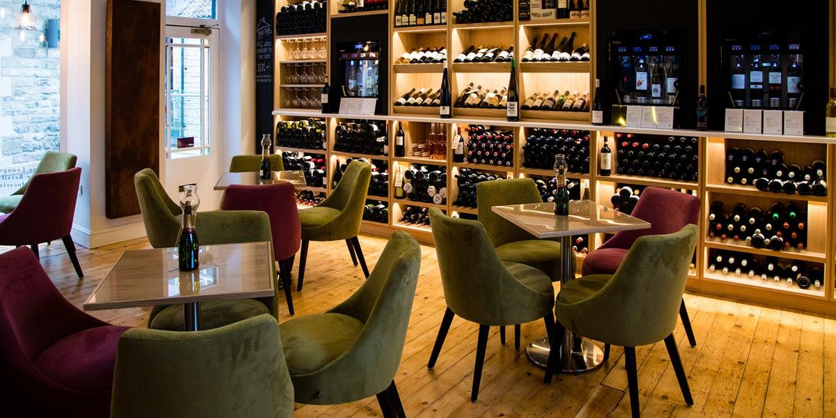 Wine on display at Le Vignoble restaurant in Bath