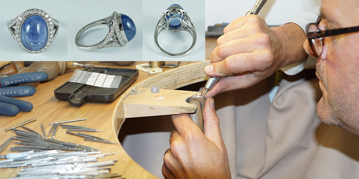 Richard works on a new design in the Baxter & Hanks Workshop.Inset: a sapphire halo ring