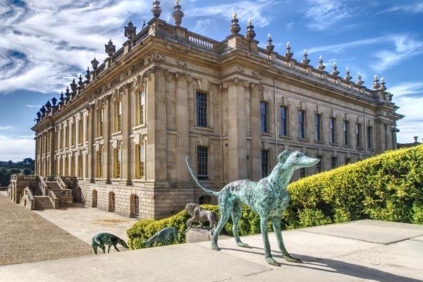 Bronze greyhound sculptures at Chatsworth House