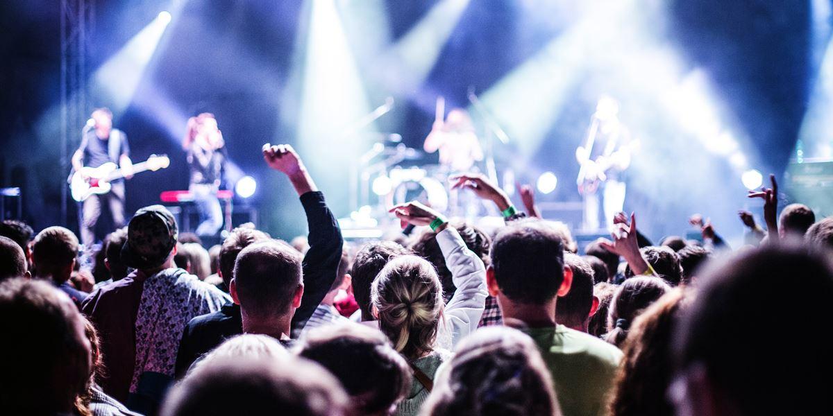 Crowd at live music venue