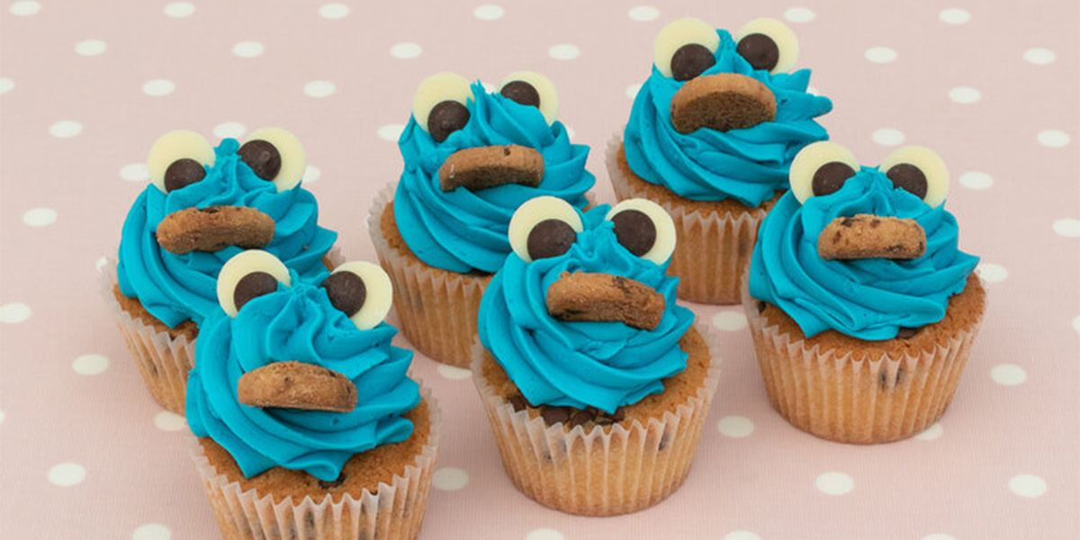 Cookie Monster cupcakes from Hey Little Cupcake! at Spinningfields